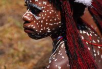 Baliem Valley Festival, Girls of Baliem Valley. Wearing the traditional make up