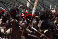 Baliem Valley Festival, Hundreds men who hold their javelins. And ready to have mock of war dance in the festivals