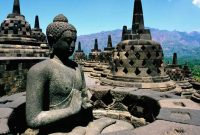 Borobudur, the great Buddhist stupa on Java (Indonesia), built and decorated perhaps before 800AD